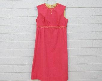 Vintage 60s Pink Dress Empire Waist Mid century