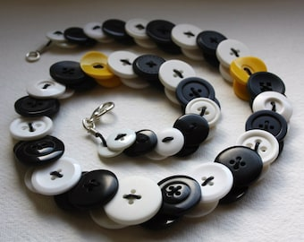 Black, White and Yellow Button Necklace Button Jewellery Button Jewelry UK Handmade Free UK Shipping
