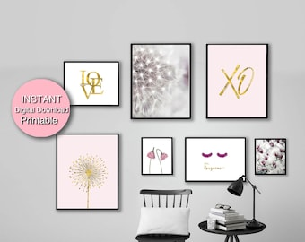 Printable Gold Pink Gallery Wall Art Set, Flower Photography, Print Set