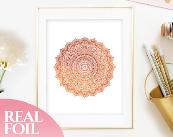 Copper Foil Print Mandala Wall Art Decor Available in Gold and Rose Gold, 5x7, 8x10