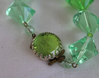 W Germany Green Beaded Necklace Faceted