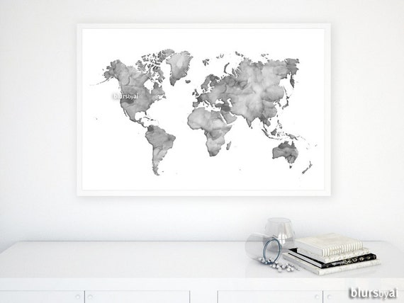 36x24 watercolor world map printable grayscale map 36x24 watercolor world map printable grayscale map gray world map gift for him dorm decor gray watercolor large wall art map033 cnq gumiabroncs Image collections