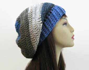 Crochet Slouchy Hat Gray Knit Beanie Gray and Blue Striped Slouchy Hat Gray Slouchy Tam Gray Multicolor Crochet women's Hat Gray Knit Tam