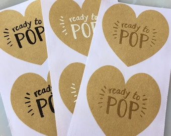 Set of 20 Handmade Ready to Pop Baby Shower Party Favor Stickers-Popcorn Baby Shower Favor Sticker-Cake Pop Favor Sticker-Handmade Tags