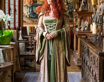 Gorgeous OOAK Medieval Inspired Gown Game of Thrones Lord of the Rings Celtic Wedding Dress Forest Bride Size Medium