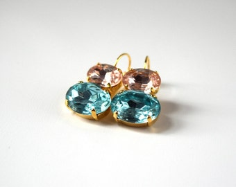 Pink and Aqua Crystal Earrings, Blue and Pink Rhinestone Jewelry, Georgian Paste, 18th Century Earrings, Historical Jewelry Marie Antoinette