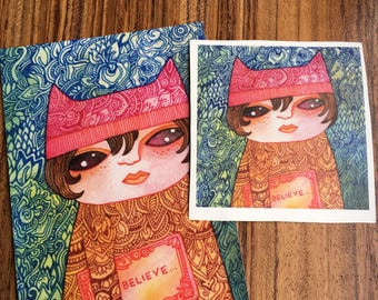 Believe Pussy hat sticker &  postcard set by Megan Noel