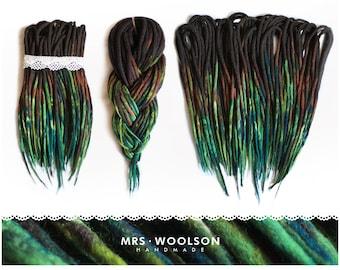 wool dreadlocks | CHOOSE AMOUNT | brown / green wool dreadlocks | forest love | 100% handmade | worldwide shipping