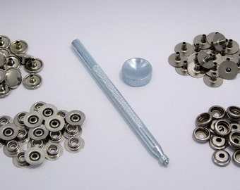 Snap Fastener Kit With 20 Snaps And Setting Tool For Thinner Materials.