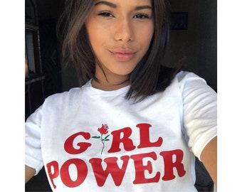 Girl Power Tshirt, Feminism Tee Girl Power Shirt, Girls Summer Clothing shirt top, Tumblr shirt Cotton T-shirt, Mother Gift from Daughter