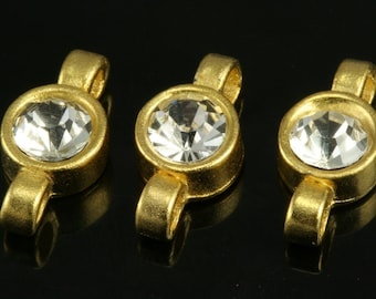 2 pcs 18x9 mm gold plated brass rhinestone connector brass  findings connector 346