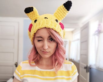 pokemon hat - super slouchy yellow pikachu inspired beanie hat - pokemon indigo league anime - vegan hat - gifts for teens - gifts for her