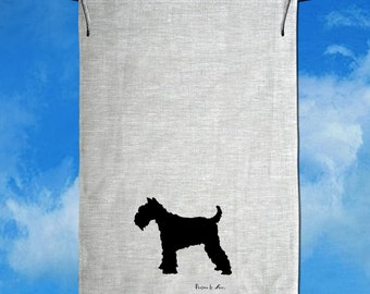 Schnauzer Silhouette Hand Screen Printed Pure Linen Tea Towel
