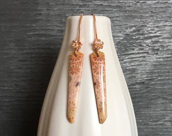 Fossil coral and rose gold earrings, natural fossilized Indonesian coral earrings