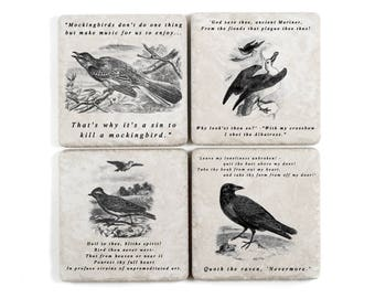 Literary Bird Coasters, Vintage Illustrations with Quotes from Great Literature
