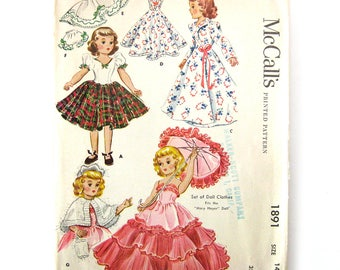 """1950s Vintage Sewing Pattern - DOLL Clothes - McCalls 1891 - Mary Hoyer 14"""" Doll  - Original Pattern - UNCUT FF"""