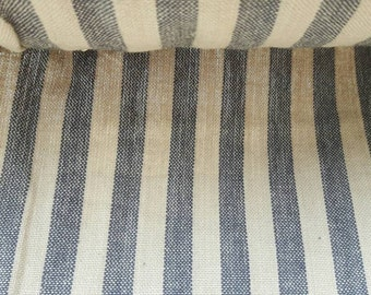 "Gorgeous tradional french stripes fabric in oat and blue 63"" wide"