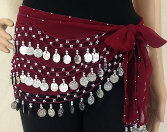 Belly Dance Hip Scarf 3 Rows Silver Jingle Coins / Belly Dance Skirt / Arabian Costume Scarf / Performance Skirt