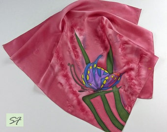 Small Neck Scarf, Dark Pink Scarf, Silk Satin Scarf square, Hand Painted with Butterfly, Batik, Woman Neckerchief Scarf, Gift for Wife