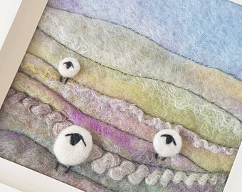Felted Sheep in the hills - original felted and embroidered fiber art picture