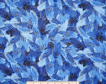 Bird Fabric - Glory Metallic Packed Feathers Blue  - Timeless Treasures YARD