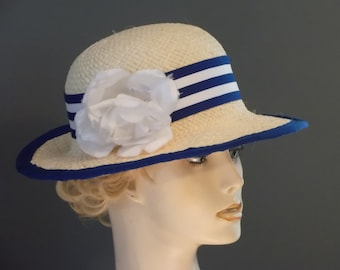 straw medium brim hat, blue and white ribbon trim, white shabby chic flower, hand blocked, womens straw hat, vintage style, church, tea