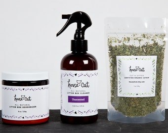 Eco-Friendly Cat Gift Set, All Natural Cat Litter Box Cleaner, Deodorizer and Organic Catnip or Valerian Root, Cat Lover, Cat Odour Control