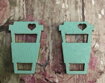 Aqua Teal Coffee To Go Cup Magnets (Set of 2)