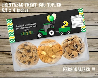 Green and Yellow Tractor CUSTOMIZED Ziploc Treat Bag TOPPER, Party Favor, Boy Birthday, Green TRACTOR Goody Bag Topper