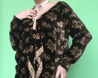 1920s Dress / 20s Velvet Dress / 1920s Blouse
