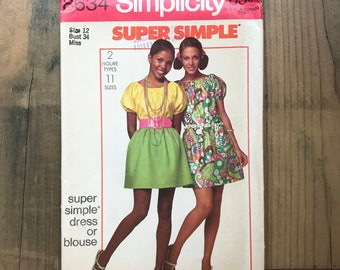 1969 sewing pattern SIMPLICITY 8634 - Super simple dress or blouse - size 12 bust 34 - 60's fashion - bohemian dress