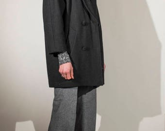 Vintage 1980s black wool double breasted cocoon  coat with velvet lapel collar UK10