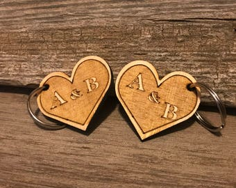 Valentines Couples Custom Heart Keychain