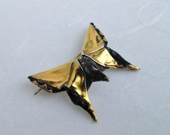 "Gold Plated Origami Butterfly Brooch ""Courante"", number three in Concerto Series, OOAK"