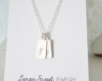 Little tags necklace, sterling silver, delicate modern jewelry