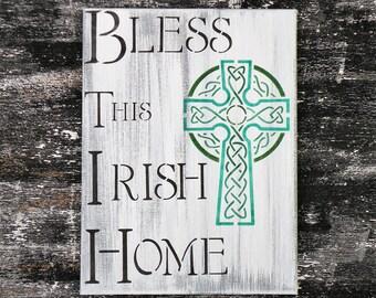 Bless This Irish Home Celtic Cross Painting, Rustic Irish Family Sign, Irish Blessings Sign, Celtic Shamrock Irish Faith Sign, Irish Welcome