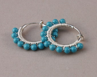 Clip hoop earrings Silver plated wirewrapped with Swarovski Turquoise pearls