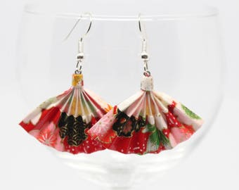 Fan earrings red Origami - Japanese paper