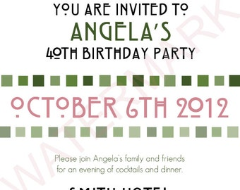 Irish Rose Birthday Party Invitation, Digital, Customizable, 4X6