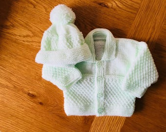 Hand knitted mint green jacket cardigan with collar and bobble hat set Granny Dukes Knitting
