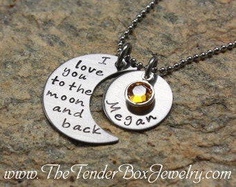 personalized necklace I love you to the moon and back moon and name pendant necklace PFBCX