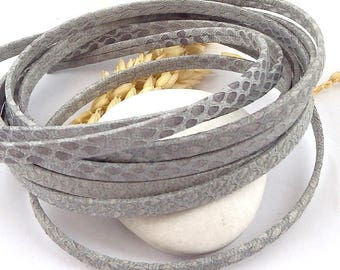 cord flat leather 5mm light grey carved snake by 20cm