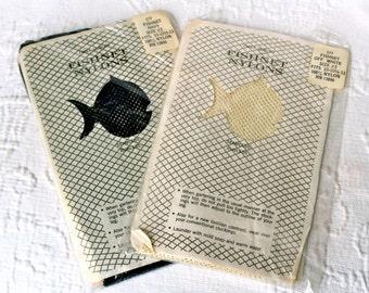 NOS Vintage Fishnet Nylon Stockings Lingerie Hosiery Garter PinUp Girl Navy Blue 2 10 10.5 11 Mad Men (Gift for Her) christmas winter
