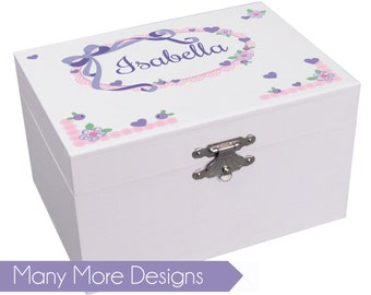Personalized Musical Ballerina Jewelry Box for Girls Custom Jewelry Boxes White twirling ballet dancer Many Designs Monogrammed first JEWEA