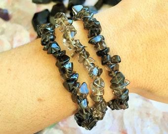 Smokey Quartz Bracelet / Chakra Crystal Healing Bracelet with Reiki
