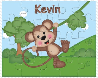 Monkey Personalized Puzzle, Personalized Monkey Puzzle, Personalized Kids Puzzle