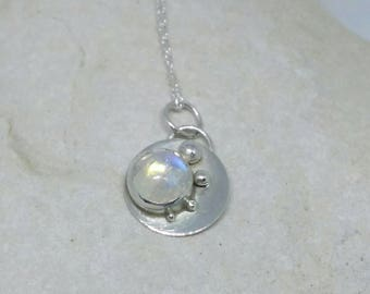 Moonstone pendant with silver balls
