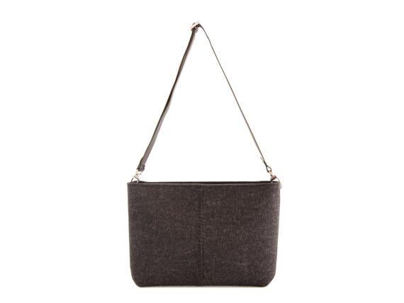 Felt CROSSBODY BAG with leather strap / crossbody purse / small crossbody bag w/ zipper / charcoal felt bag / wool felt / made in Italy