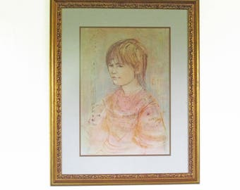 """Edna Hibel Signed Limited Edition Lithograph """"Ulla"""" Small Child"""