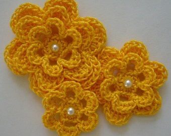 Crocheted Flowers - Goldenrod Yellow With a Pearl - Cotton Flowers - Crocheted Flower Appliques - Crocheted Flower Embellishments
